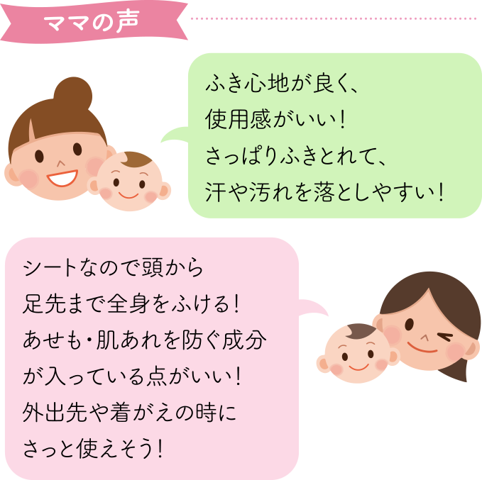 ママの声 ふき心地がよく、使用感がいい!さっぱりふき取れて汗や汚れを落としやすい!シートなので頭から足先まで全身をふける!あせも・肌あれを防ぐ成分が入っている点がいい!外出先や着替えの時にさっと使えそう!